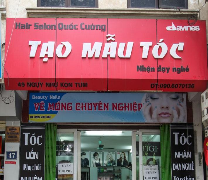 Mẫu biển quảng cáo tiệm tóc màu sắc bắt mắt